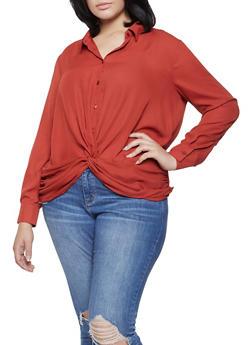 Plus Size Twist Front Shirt - 3925054212432