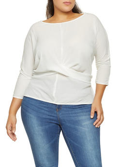 Plus Size Tie Back Blouse - 3925054212446