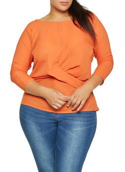 Plus Size Tie Back Blouse - 3925054212446