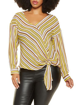 Plus Size Striped Tie Front Blouse - 3925054212464