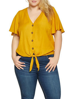 Plus Size Linen Tie Front Shirt - 3925054212727