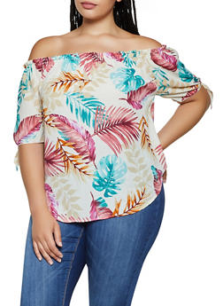 Plus Size Tropical Off the Shoulder Top - 3925061353233