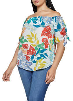 Plus Size Off the Shoulder Leaf Print Top - 3925061353255