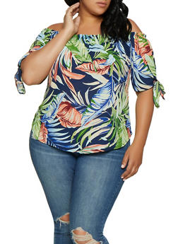 Plus Size Tie Sleeve Floral Off the Shoulder Top - 3925061356316