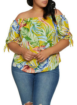 240445e0608d54 Plus Size Tie Sleeve Floral Off the Shoulder Top - 3925061356316