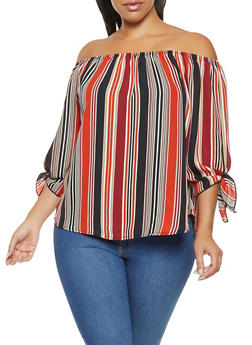 Plus Size Striped Off the Shoulder Top - 3925061357251