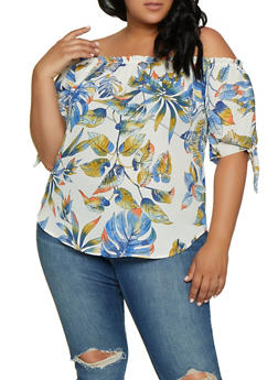 Plus Size Tie Sleeve Off the Shoulder Floral Top - 3925061357317