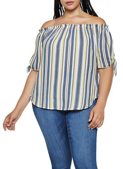 Plus Size Striped Off the Shoulder Top   3925061357979 - 3925061357979