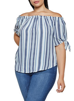 Plus Size Striped Off the Shoulder Top | 3925061357979 - 3925061357979
