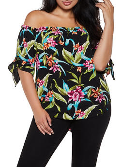 b411774d0231d5 Plus Size Printed Knot Sleeve Off the Shoulder Top - 3925061359797
