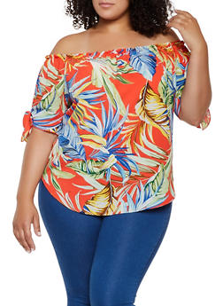 Plus Size Printed Knot Sleeve Off the Shoulder Top - 3925061359797