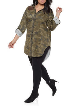 Plus Size Fishnet Insert Camo Tunic Shirt - 3925063406087