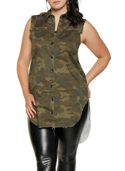 Plus Size Camo Button Front Denim Tunic - 3925063406088