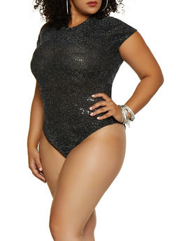Plus Size Glitter Knit Bodysuit - 3925063407690