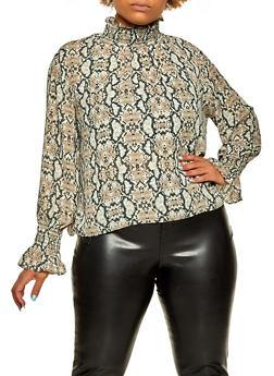 Plus Size Smocked Detail Snake Print Blouse - 3925068193523