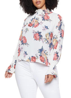 Plus Size Floral Smocked Neck Blouse - 3925068193525