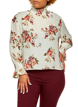 Plus Size Floral Mock Neck Blouse - 3925068193526