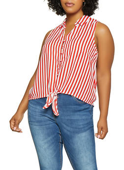 Plus Size Striped Sleeveless Button Front Top - 3925069390001