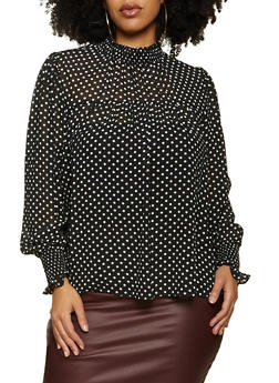 Plus Size Polka Dot Smocked Detail Blouse - 3925069390012