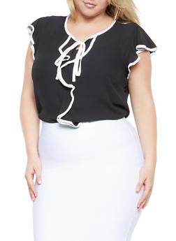 Plus Size Tie Neck Flutter Sleeve Blouse - 3925069390035