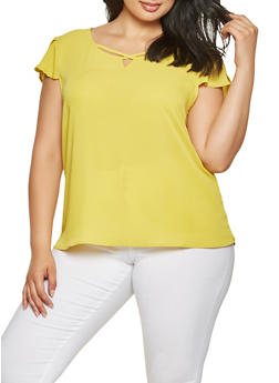 Plus Size Crepe Knit Tulip Sleeve Top - 3925069390074
