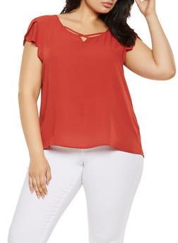 Plus Size Crepe Knit Tulip Sleeve Top - 3925069390074