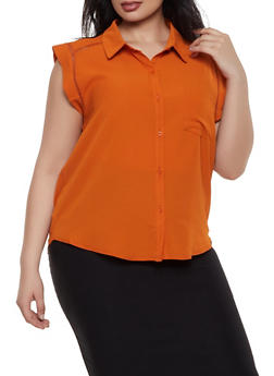 Plus Size Crochet Trim Sleeveless Shirt - 3925069390093