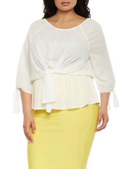 Plus Size Tie Front Top - 3925069390104