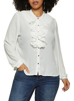 Plus Size White Pleated Ruffle Shirt - 3925069390111