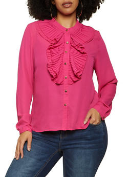 Plus Size Pleated Ruffle Shirt - 3925069390112