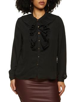 Plus Size Black Pleated Ruffle Blouse - 3925069390113