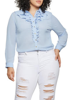 Plus Size Ruffled Button Front Blouse - 3925069390119