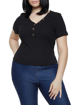 Plus Size Rib Knit Half Button Top - 3925069390132