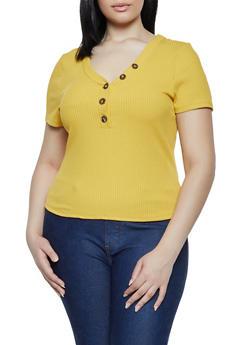 Plus Size Rib Knit Half Button Top - 3925069390132