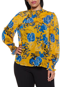 Plus Size Floral Smocked Detail Blouse - 3925069390489