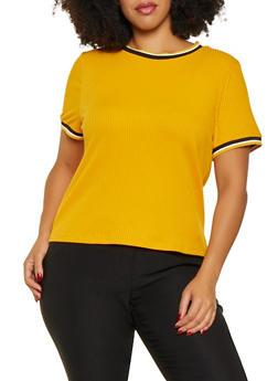 Plus Size Striped Trim Ribbed Knit Tee - 3925069390502