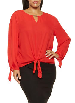 Plus Size Metallic Keyhole Blouse - 3925069390504