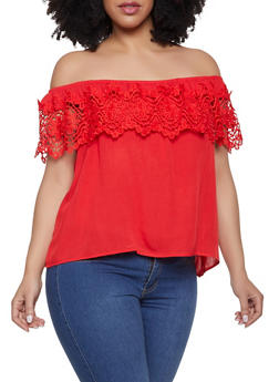 Plus Size Off the Shoulder Crochet Trim Top | 3925069390947 - 3925069390947