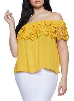 Plus Size Off the Shoulder Crochet Trim Top | 3925069390947 - 3925069390947