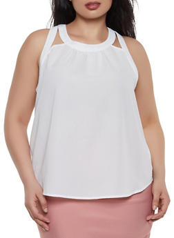 Plus Size Sleeveless Cut Out Top - 3925069391000
