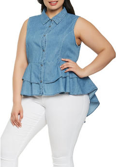 Plus Size Peplum High Low Chambray Top - 3925069391012