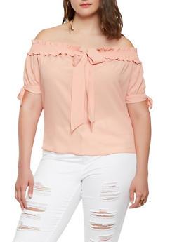 Plus Size Tie Front Off the Shoulder Top - 3925069391025