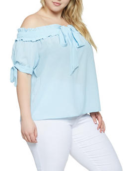 Plus Size Tie Front Off the Shoulder Top - 3925069391025