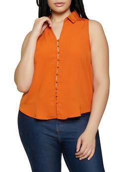 Plus Size Solid Sleeveless Shirt - 3925069391063