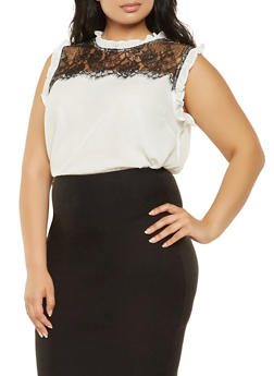 Plus Size Sleeveless Lace Insert Blouse - 3925069391091