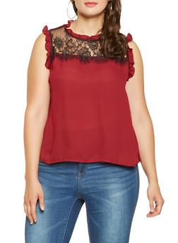 Plus Size Sleeveless Lace Insert Blouse - 3925069391091