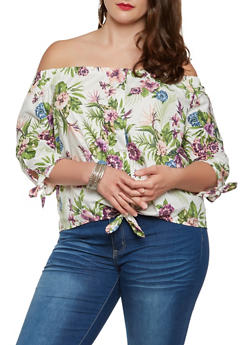 Plus Size Printed Off the Shoulder Poplin Top - 3925069391093