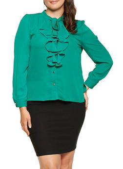 Plus Size Ruffled Tie Neck Blouse - 3925069391110