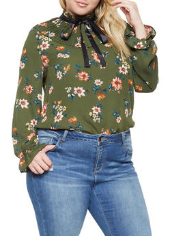 Plus Size Floral Pleated Top - 3925069391177