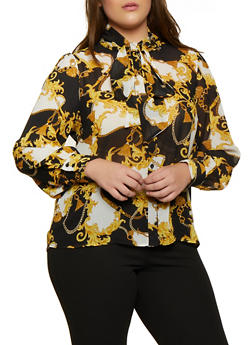 Plus Size Status Print Button Front Shirt - 3925069391188